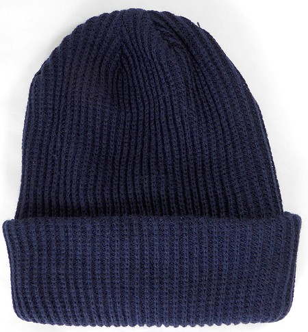 Wholesale Winter Knit Long Cuff Beanie Hats - Solid Navy