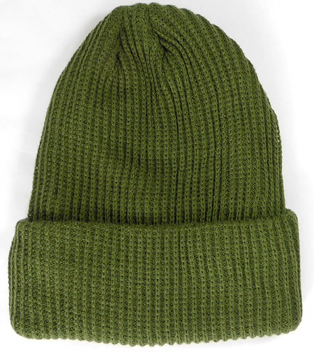Wholesale Winter Knit Long Cuff Beanie Hats - Solid Olive Green