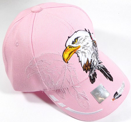 Wholesale Native Pride Baseball Cap - Eagle Feathers - Light Pink