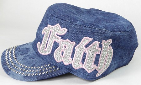 Wholesale Rhinestone Cadet Cap - Faith - Splash Dark Denim