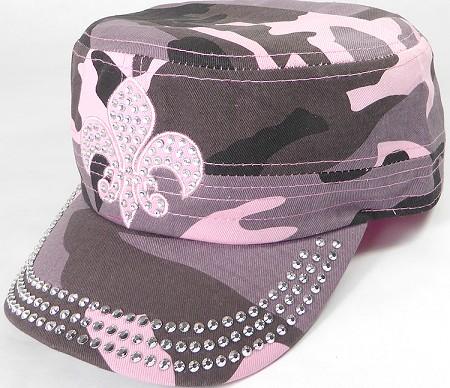 018418af5 Wholesale Rhinestone Castro Cap - Pink Fleur de Lis - Pink Camo