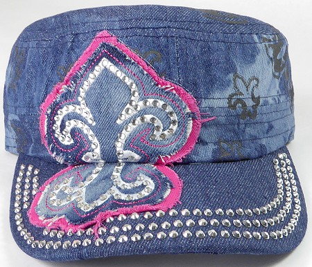 Wholesale Rhinestone Castro Hat - Fleur de Lis Patch - Splash Dark Denim