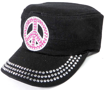 Wholesale Rhinestone Cadet Caps - Pink Peace Sign - Black