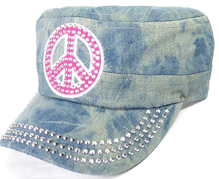 Wholesale Rhinestone Cadet Caps - Pink Peace Sign - Splash Light Denim