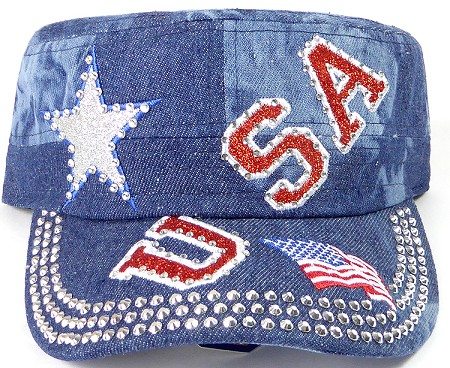 Wholesale Rhinestone Cadet Caps - USA Star - Splash Dark Denim
