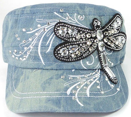 Wholesale Rhinestone Cadet Cap - Dragonfly - Splash Light Denim