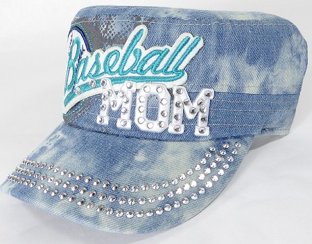 Wholesale Rhinestone Baseball MOM Cadet Cap - Splash Light Denim