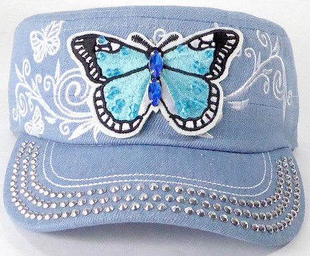 Wholesale Rhinestone Cadet Cap - Butterfly - Light Stone Denim