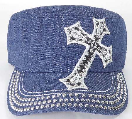 7ec5f5e2a Wholesale Rhinestone Cadet Hat - Cross - Dark Denim