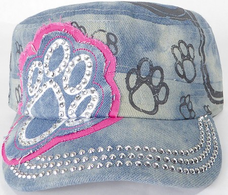 Wholesale Rhinestone Paw Cadet Hats - Splash Light Denim