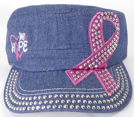 Wholesale Rhinestone Pink Ribbon Castro Hat - Hope - Dark Denim
