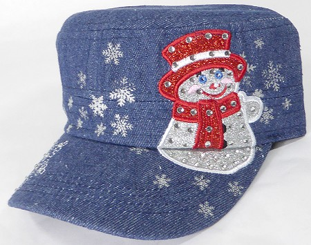 Wholesale Rhinestone Winter Snowman Fashion Cadet Hats - Dark Denim