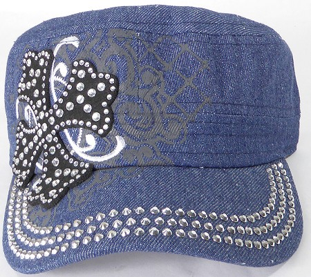 Wholesale Short Cross Cadet Rhinestone Hats - Dark Denim