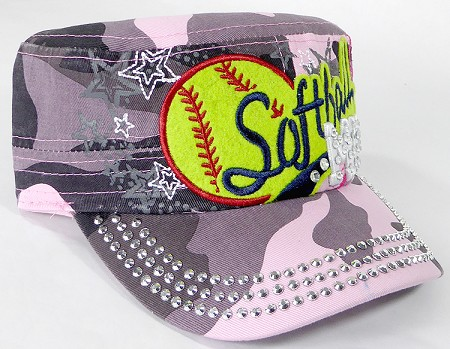 Wholesale Rhinestone Softball MOM Cadet Cap - Pink Camo