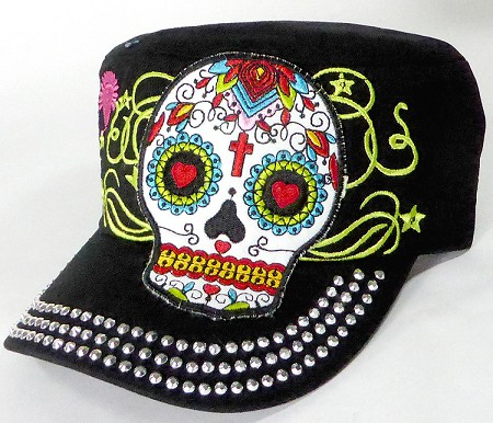 Wholesale Rhinestone Castro Caps - Hearty Eyes Sugar Skull - Black