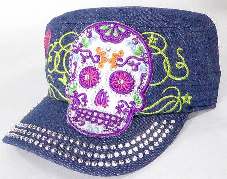 Wholesale Rhinestone Castro Cap - Sugar Skull Purple Outline - Denim Dark Stone
