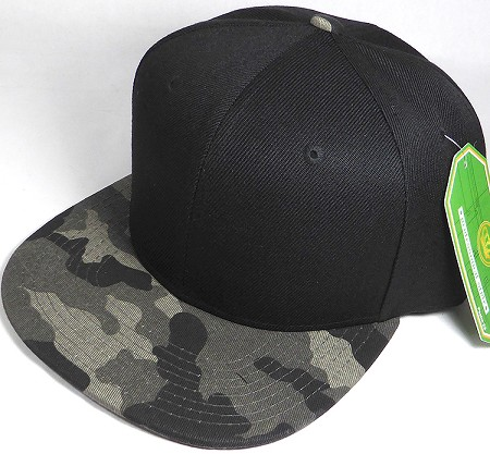 Wholesale Blank Snapback Caps - Charcoal Camo - Black Crown