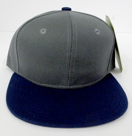 KIDS Junior Wholesale Blank Snapback Hats  - D.Grey / Navy