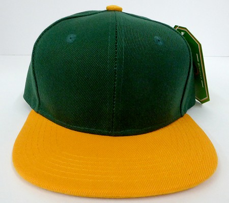 KIDS Junior Wholesale Blank Snapback Hats  - D.Green / Gold