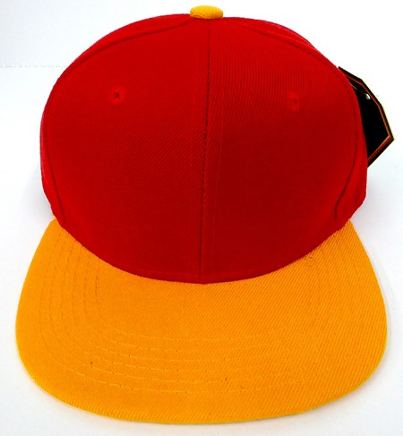 KIDS Junior Wholesale Blank Snapback Hats  - Red / Gold