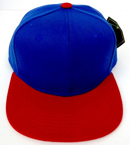 KIDS Junior Wholesale Blank Snapback Hats  Royal Blue / Red