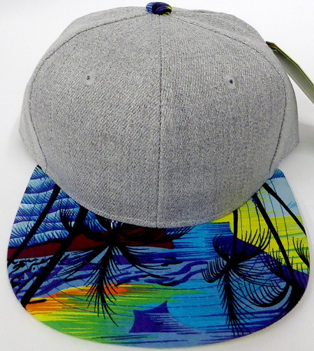 KIDS Jr. Plain Snap back Hats Wholesale - Denim Grey -Hawaiian Blue Beach