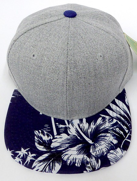 KIDS Jr. Plain Snap back Hats Wholesale - Denim Grey -Hawaiian Navy