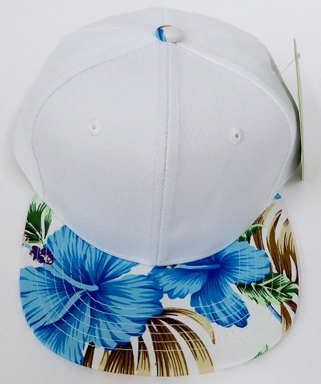 KIDS Jr. Plain Snap back Hats Wholesale - White Hawaiian Flower Blue Brim