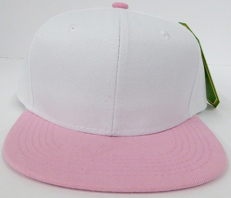 KIDS Junior Wholesale Blank Snapback Hats  -White L.Pink