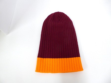 Wholesale Beanies Wholesale | Sideline Knit  Long Cuff Beanie Hats 2-tone -Burgandy Orange
