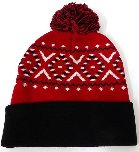 Wholesale Pom Pom Aztec Sideline Beanie - red black
