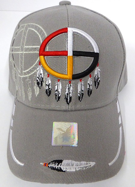 Wholesale Native Pride Baseball Cap - Medicine Wheel - L. Grey