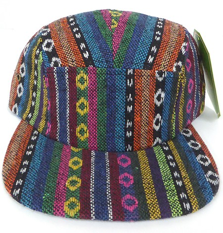 Wholesale Blank 5 Panel Camp Hats - Aztec Circular Stripes Pattern