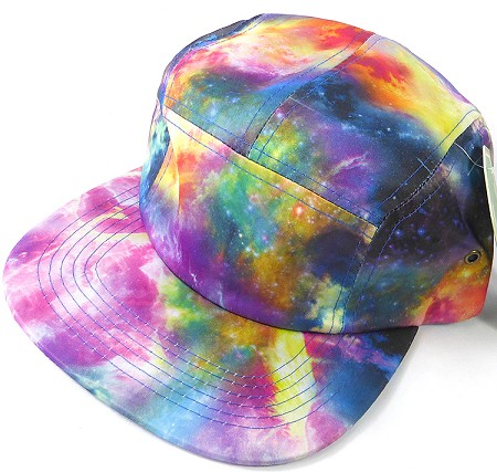Wholesale Blank 5-Panel Camp Hats Caps - Galaxy rainbow