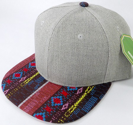 Wholesale Light Grey Denim Snapback Cap - Aztec - Brown Diamonds