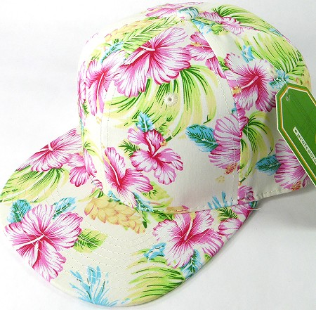 Floral Snapback Caps Wholesale Ivory Hawaiian Hibiscus Solid