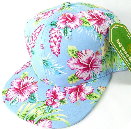 Floral Snapback Caps Wholesale Sky Blue Hawaiian Hibiscus Solid