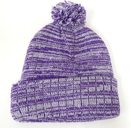 Knit Pom Pom Beanies Trendy Winter Hats - Mixed White and Purple