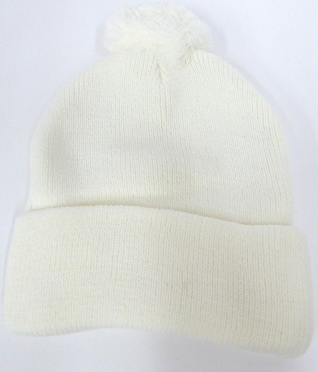 Beanies Wholesale | Pom Pom Beanies Trendy Winter Hats - SOLID  White