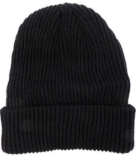 Wholesale Winter Knit Long Cuff Beanie Hats - Solid Black - Restock