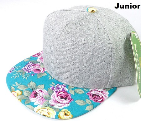 KIDS JUNIOR Bulk Blank Snapback Caps - Grey Denim | Turquoise Rose