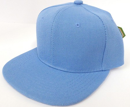 KIDS Jr. Plain Snap back Hats Wholesale - Solid - Sky Blue