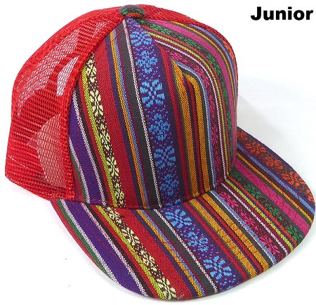 KIDS Junior Aztec Trucker Snapback Caps - Red Stripes