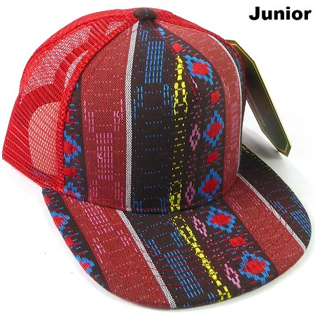 KIDS Junior Aztec Trucker Snapback Caps - Diamonds - Red