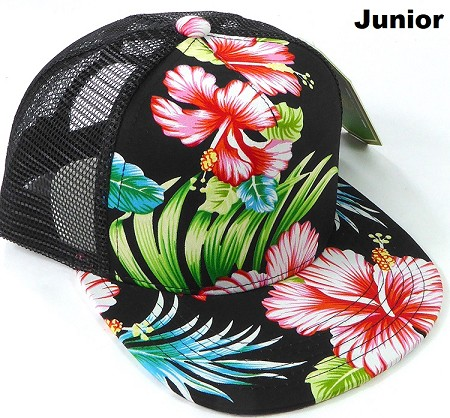 KIDS Junior Floral Trucker Snapback Caps - Hawaiian Hibiscus - Black