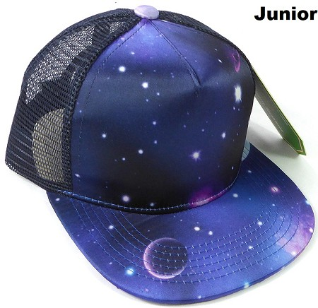 KIDS Junior Galaxy Trucker Snapback Caps - Blue Purple