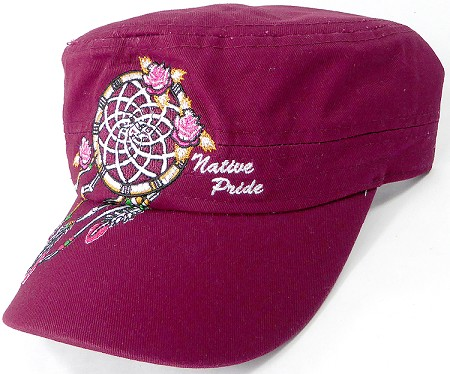 Wholesale Native Pride Cadet Cap - Floral Dreamcatcher - Burgundy