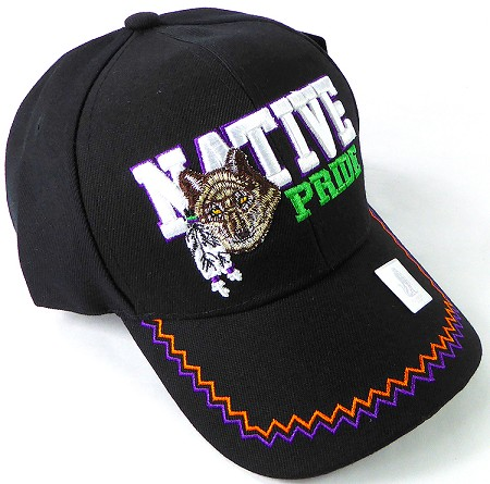 Wholesale Native Pride Baseball Hats - Wolf - Black