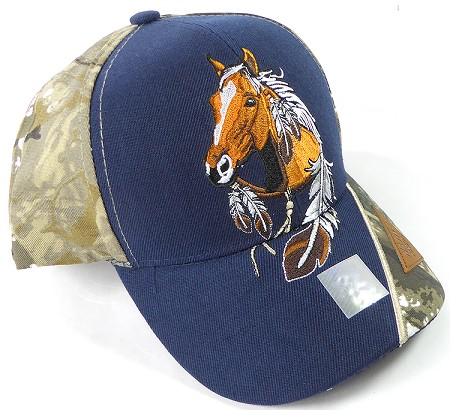 Wholesale Native Pride Baseball Cap - Horse - Navy and H. Camo