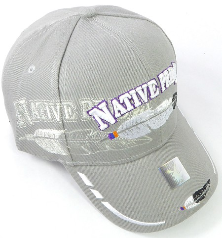 Wholesale Native Pride Baseball Cap - Feathers - Gray
